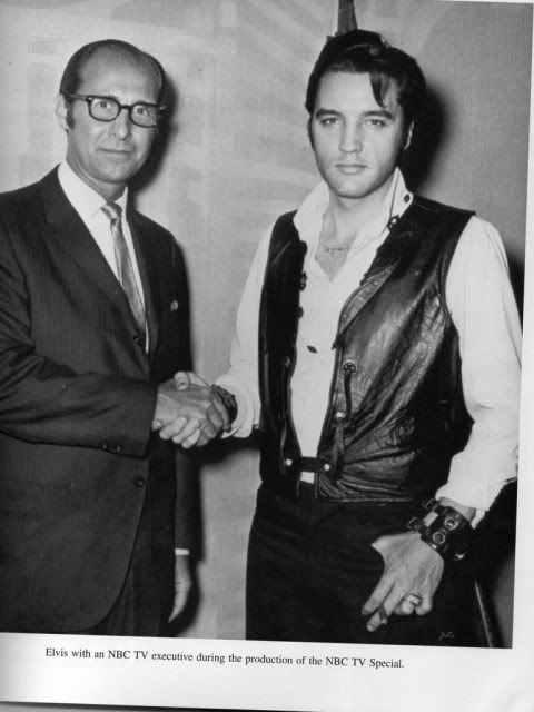 Elvis with an NBC executive during the production of the 68 Comeback Special