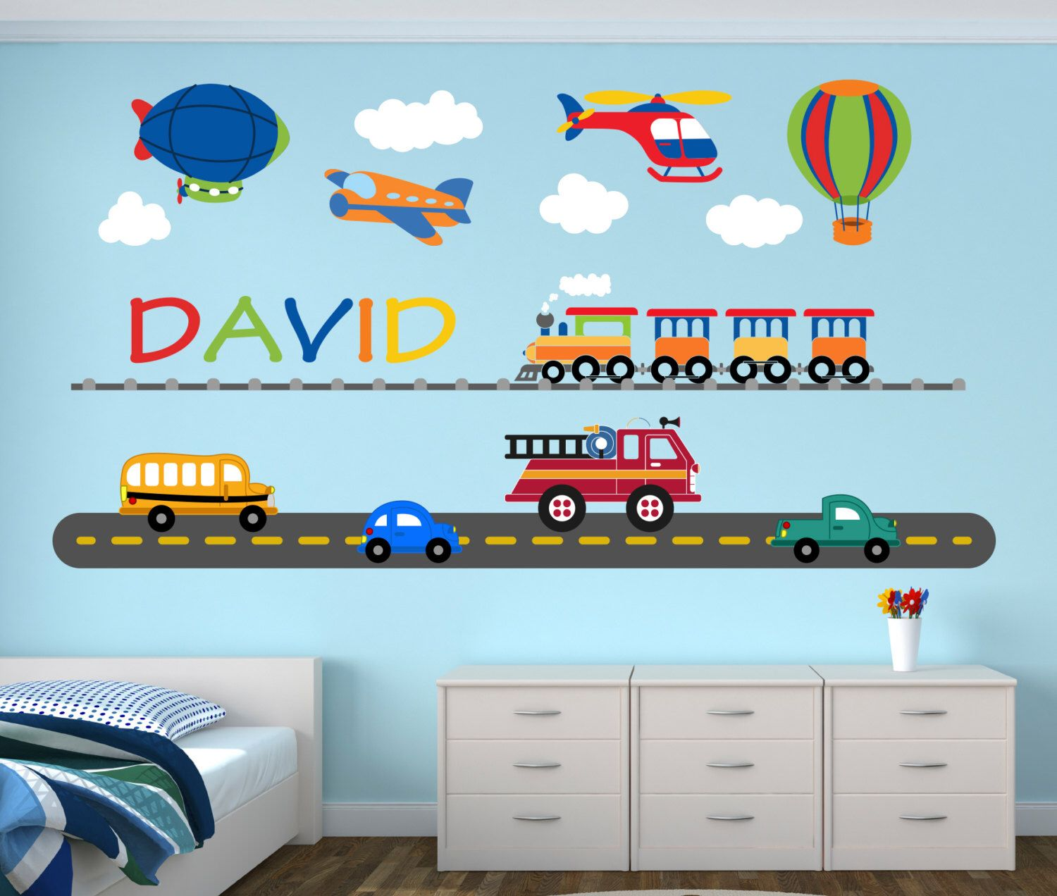 City transportation wall decal custom name wall decal cars city transportation wall decal custom name wall decal cars wall art baby boy amipublicfo Gallery