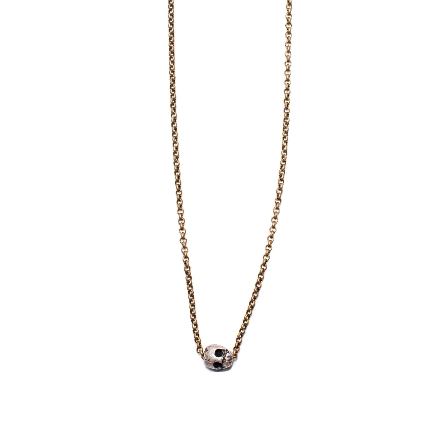 Silver Skull Necklace by E. Spell