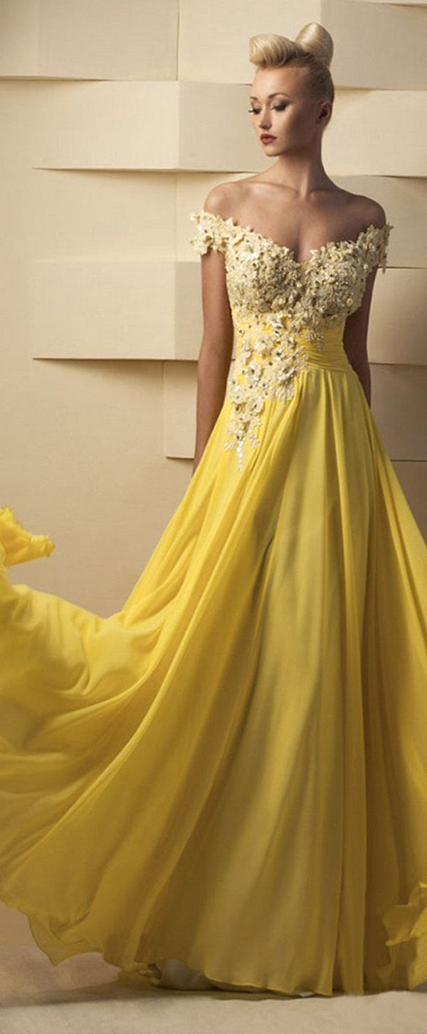 Flowing tulle u chiffon offtheshoulder aline prom dresses with