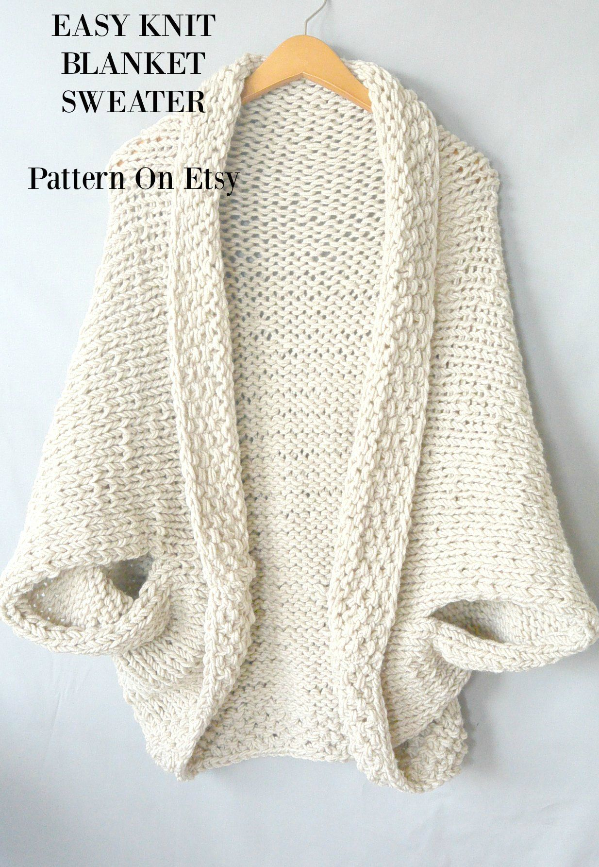 etsy-easy-knit-blanket-sweater-lb-5 | Patterns | Pinterest | Ovillos