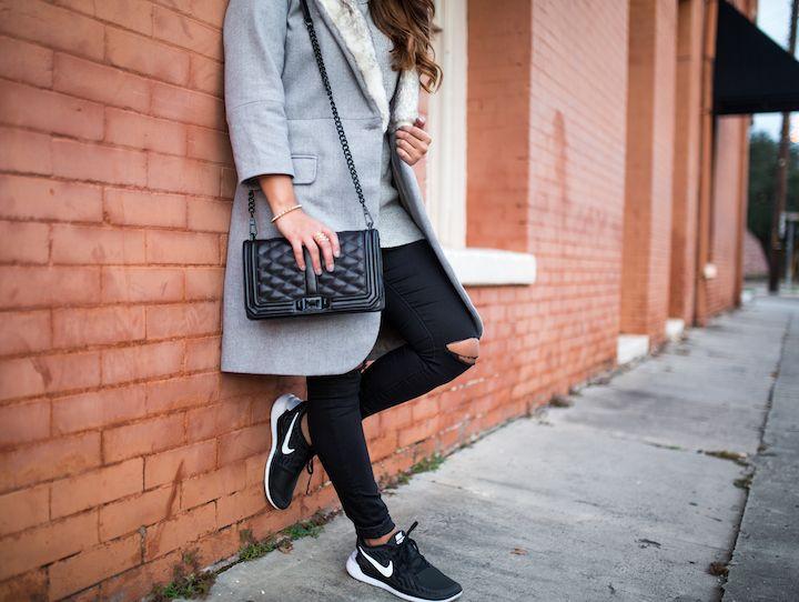 haute off the rack, nike free running shoes, black skinny jeans, grey coat