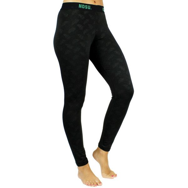 5977d76e3fa North Dakota State Bison Embossed Fleece-Lined Leggings ($38) ❤ liked on  Polyvore featuring black