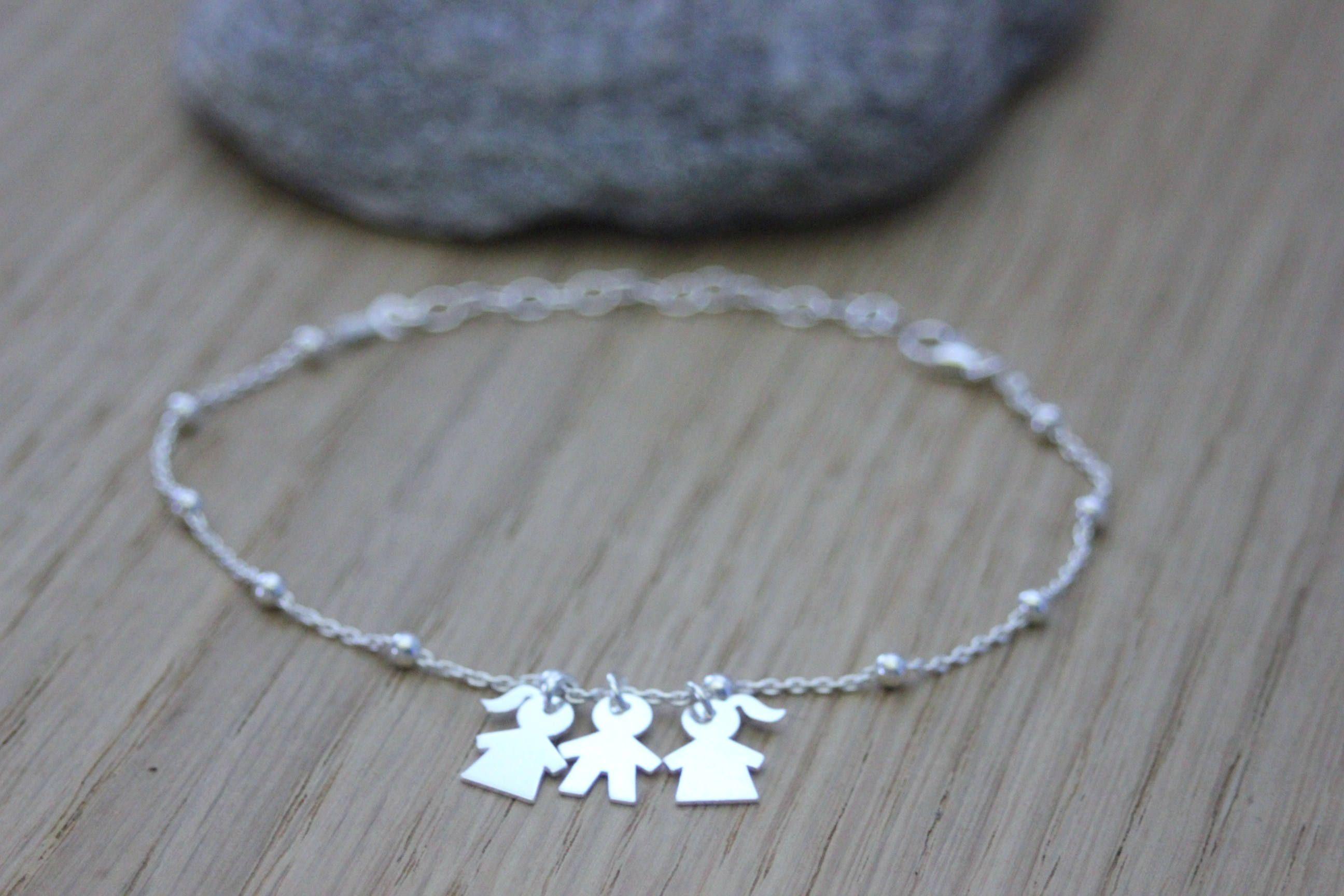 Bracelet argent massif avec 3 breloques petite fille ou petit garçon ,  bracelet fin en argent , bracelet breloque , bracelet naissance