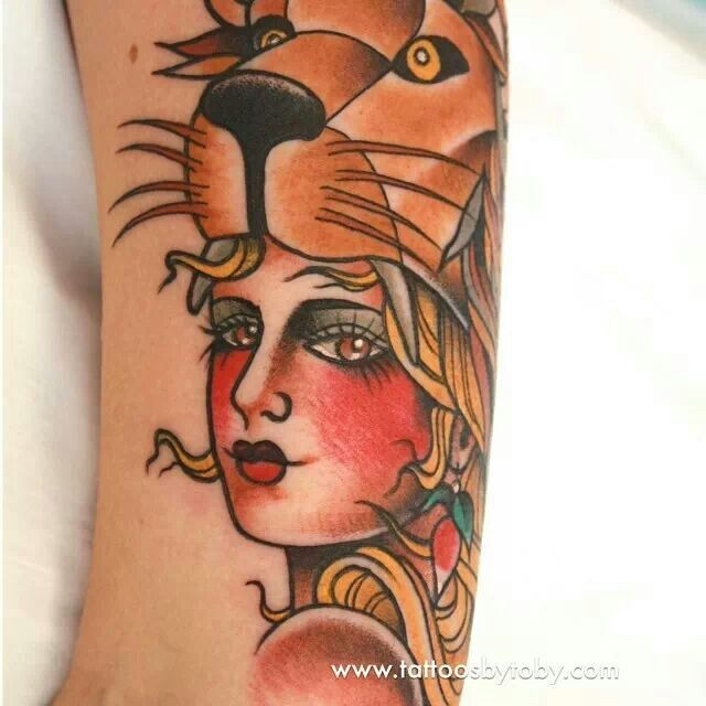 woman with lion on her head americana tattoo - Google Search