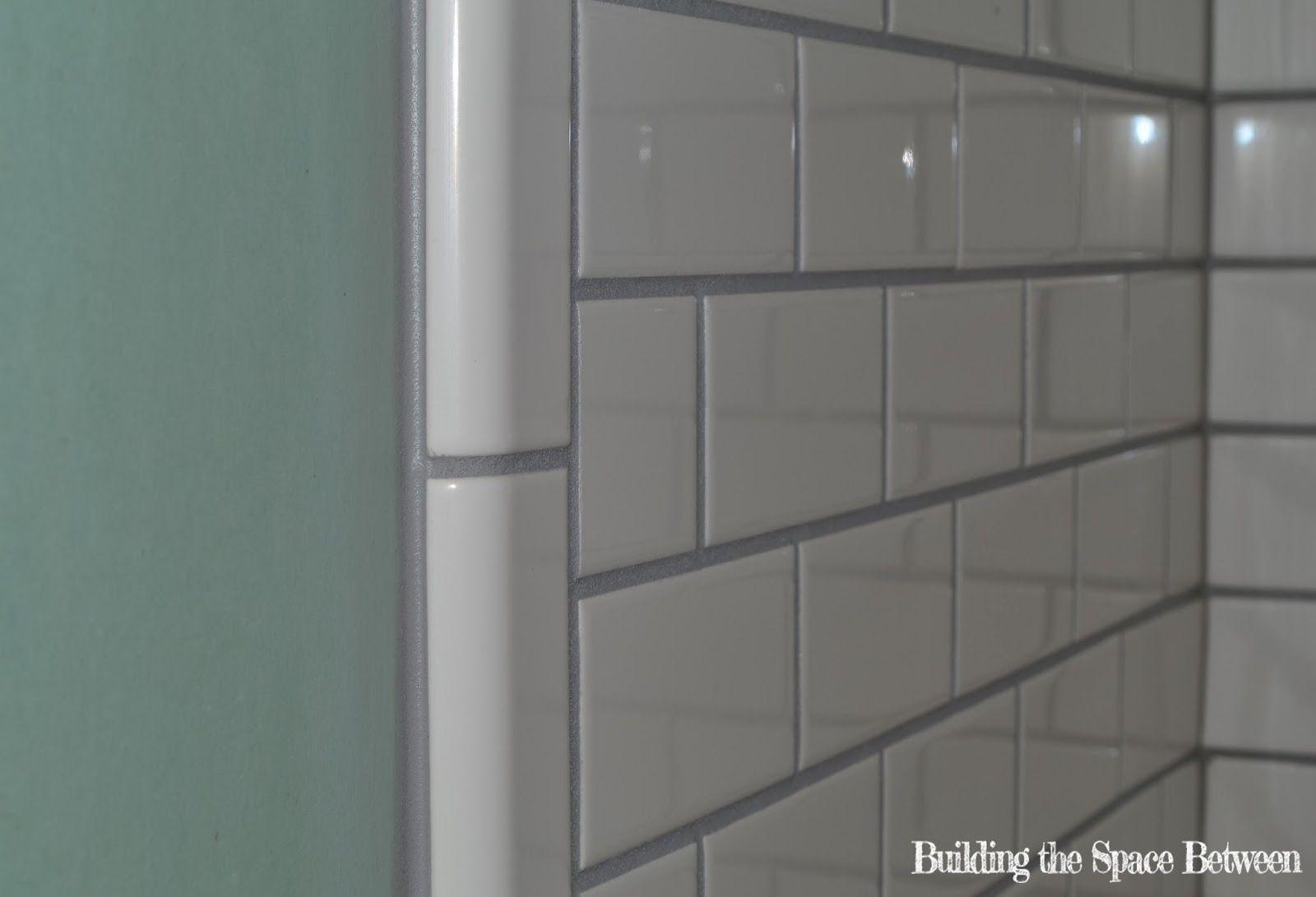 White Subway Tile Black Grout Bullnose Google Search Little
