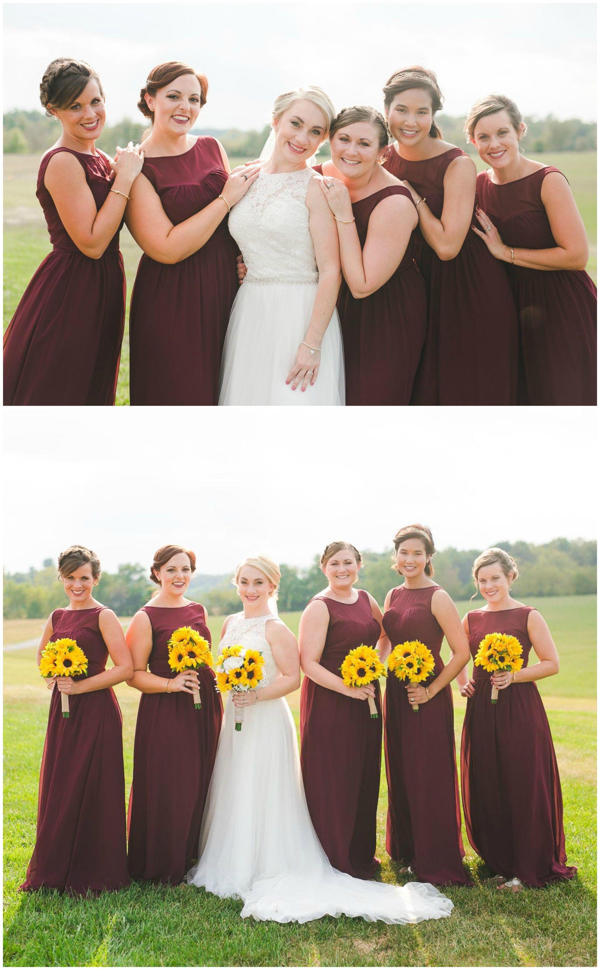 Wine Colored Bridesmaid Dresses Yellow Sunflower Wedding Bouquets Elegant Summertime Wine Bridesmaid Dresses Wine Colored Wedding Wedding Bridesmaid Dresses
