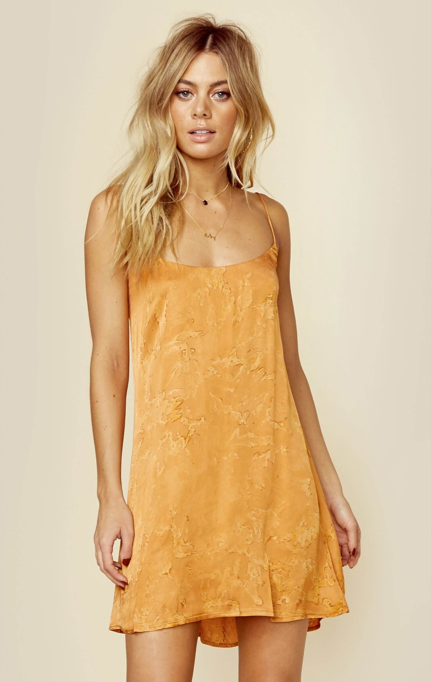 Blue life christy short silky slip dress in things i want