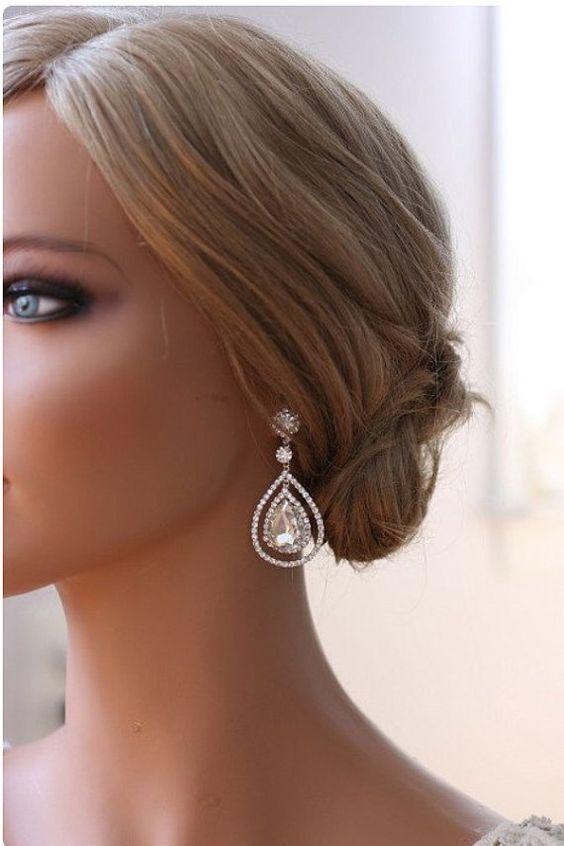 Black Tie Event Modern Wedding Sur Crystal Embellished Earrings