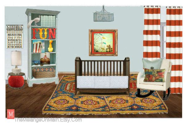 Boy or girl nursery with circus theme. Custom bedding, oranges, yellow and teal baby design. https://www.etsy.com/listing/161878313/interior-design-service-for-a-stylish?ref=shop_home_active