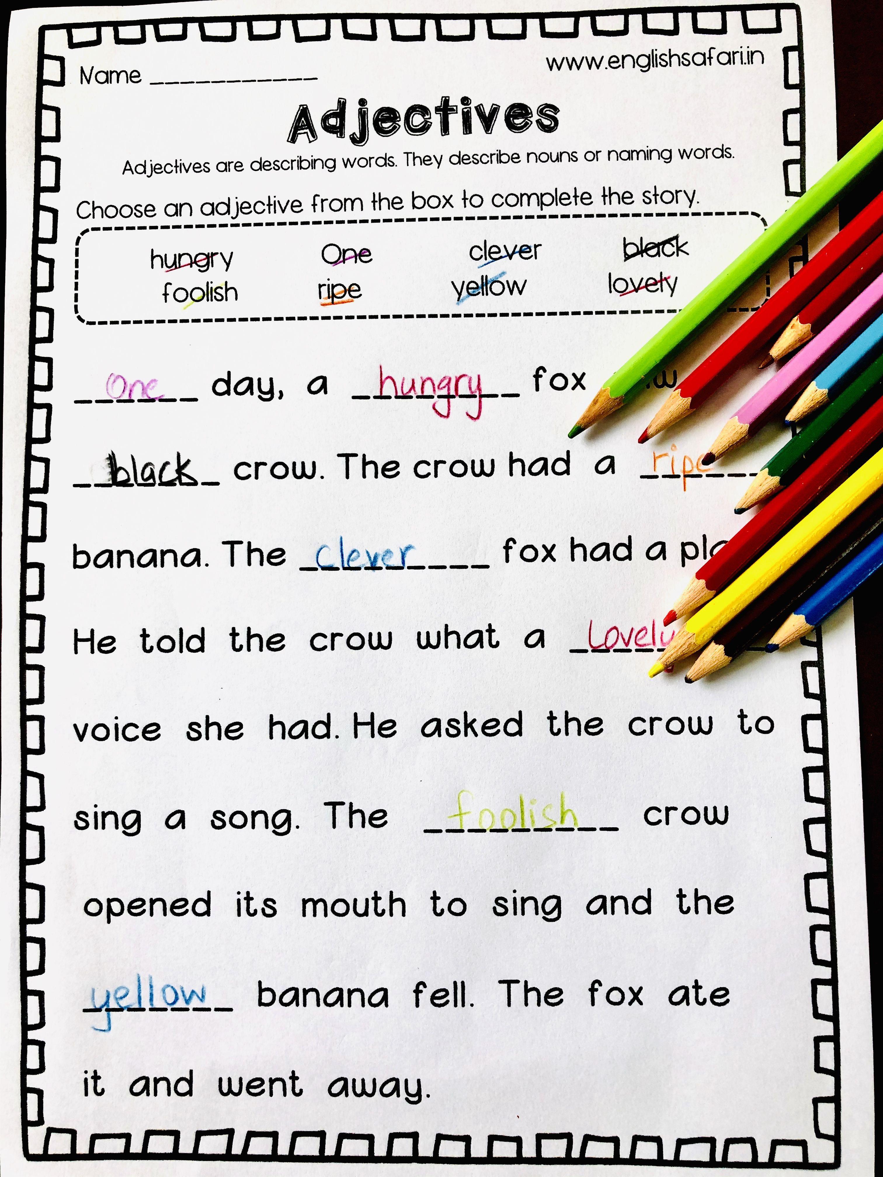 Free Adjectives Complete The Story Englishsafari