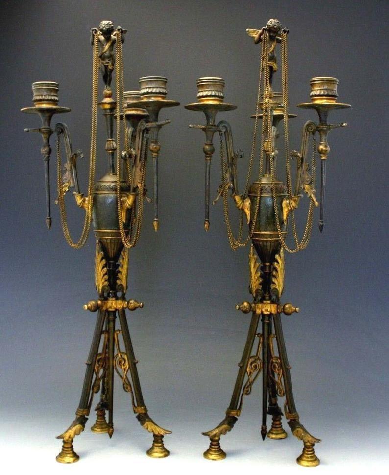 Par 19c Imperio Francés Gilt Bronce 3 Luz Candelabro Querub Etsy Candelabro De Bronce Imperio Francés Bronce