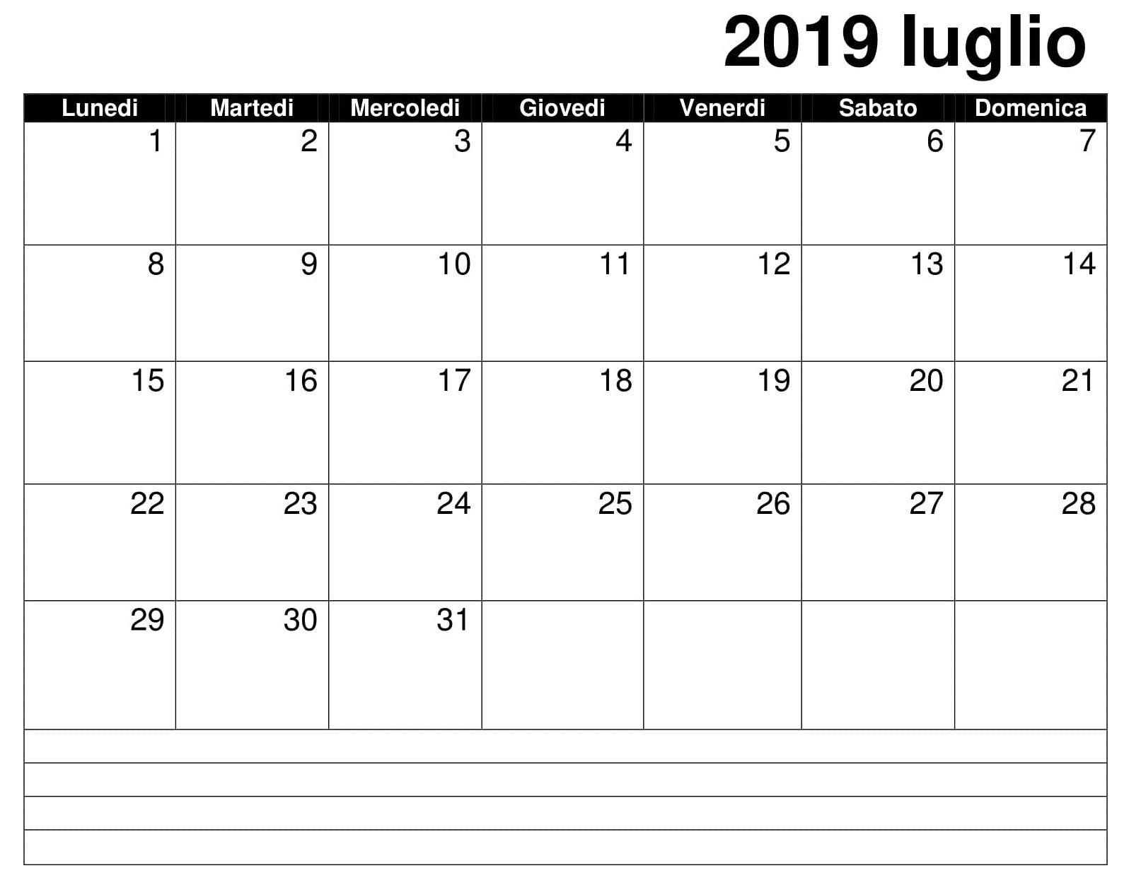 Iuglio Gratuito 2019 Calendario Calendario Iuglio 2019