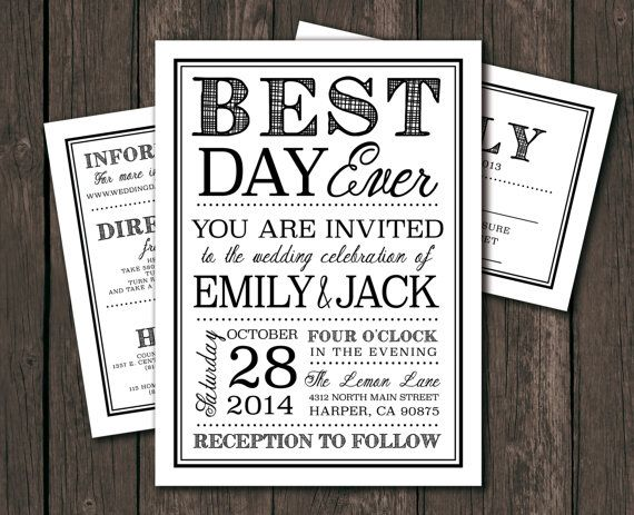 Moder Wedding Invitation Template   Printable DIY Wedding Invitation. Best  Day Ever, Typography (