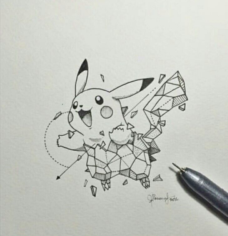 Geometric Animal Drawing Pikachu | Geometric Be...