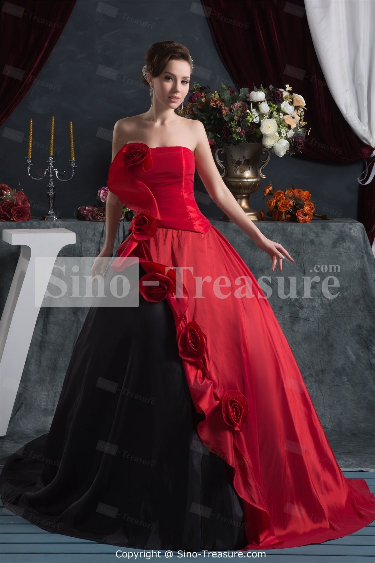 Red/ Black Satin Strapless Plus Sizes Sleeveless Ball Gown Prom ...