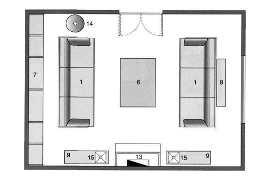 Disposition centrée pour le salon Dimensions architecture