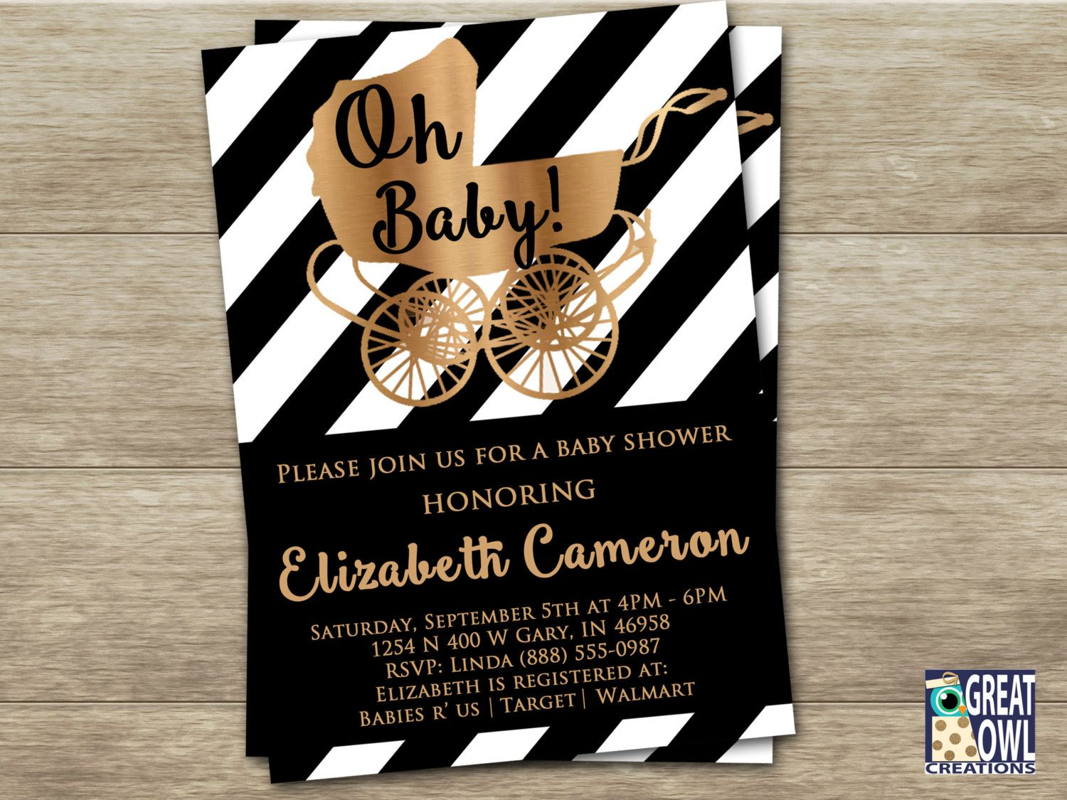 Black and White Baby Shower Invitations, Black and Gold Baby Shower ...