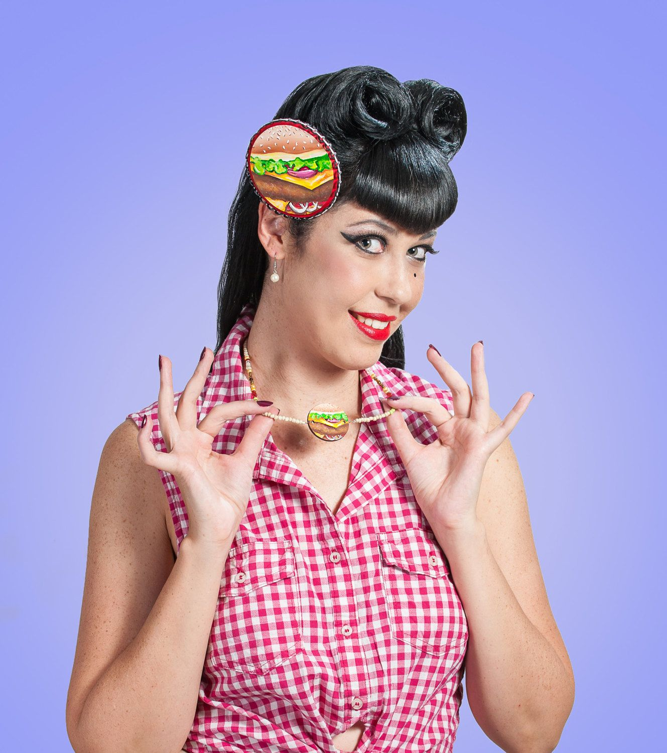 #Wearable #art,#mini #art #jewelry,#Burger #jewelry,#foodjewelry,#hamburger necklaces,#vintagejewelry,#Rockabilly jewelry,#Pinup #accessory,#vegan love by #VioletVanilla on #Etsy