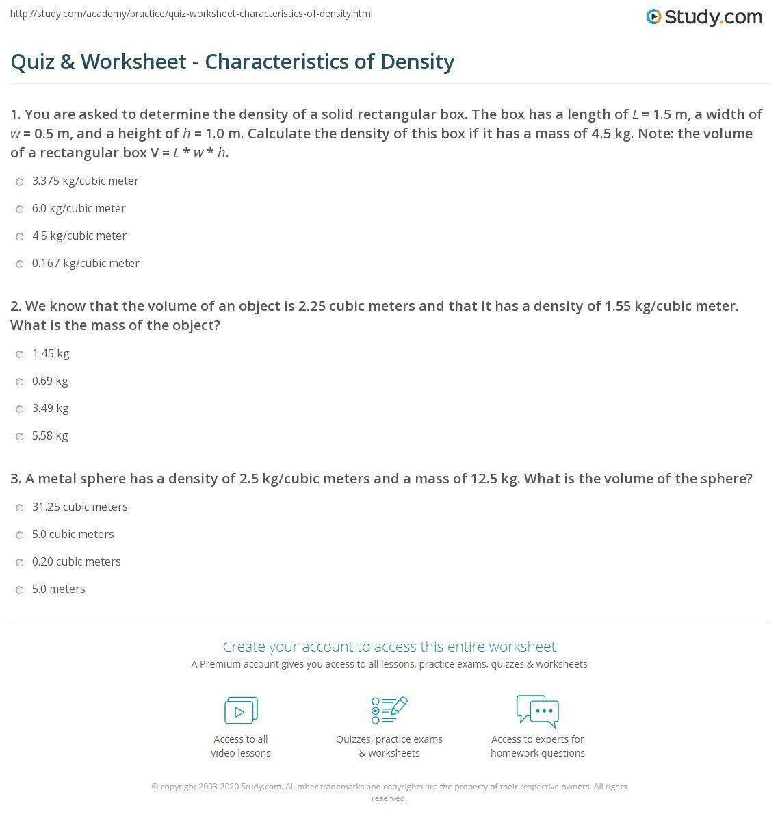 Density Practice Problem Worksheet Answers Quiz