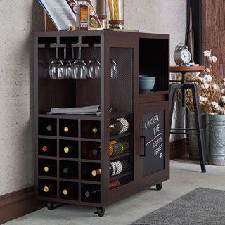 N Furniture Of America Ponne Industrial Chalkboard Walnut Mobile ServerMini  Bar
