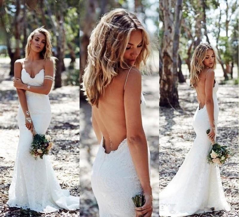 White Spaghetti Strap Low-Back Lace Wedding Dress