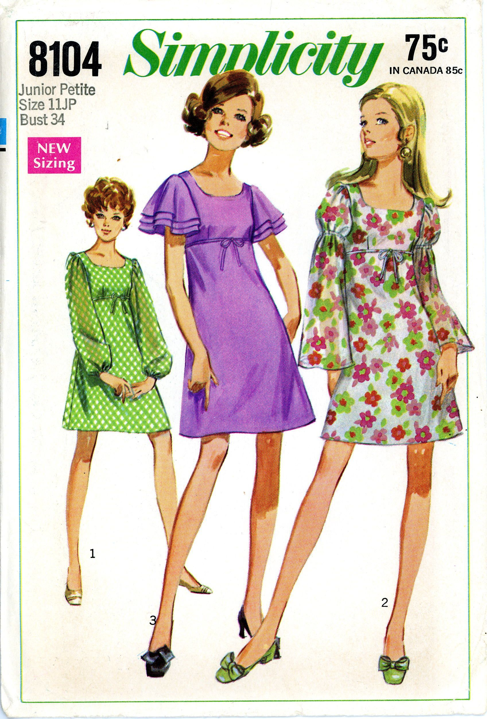 Simplicity dress pattern empire waist size junior s