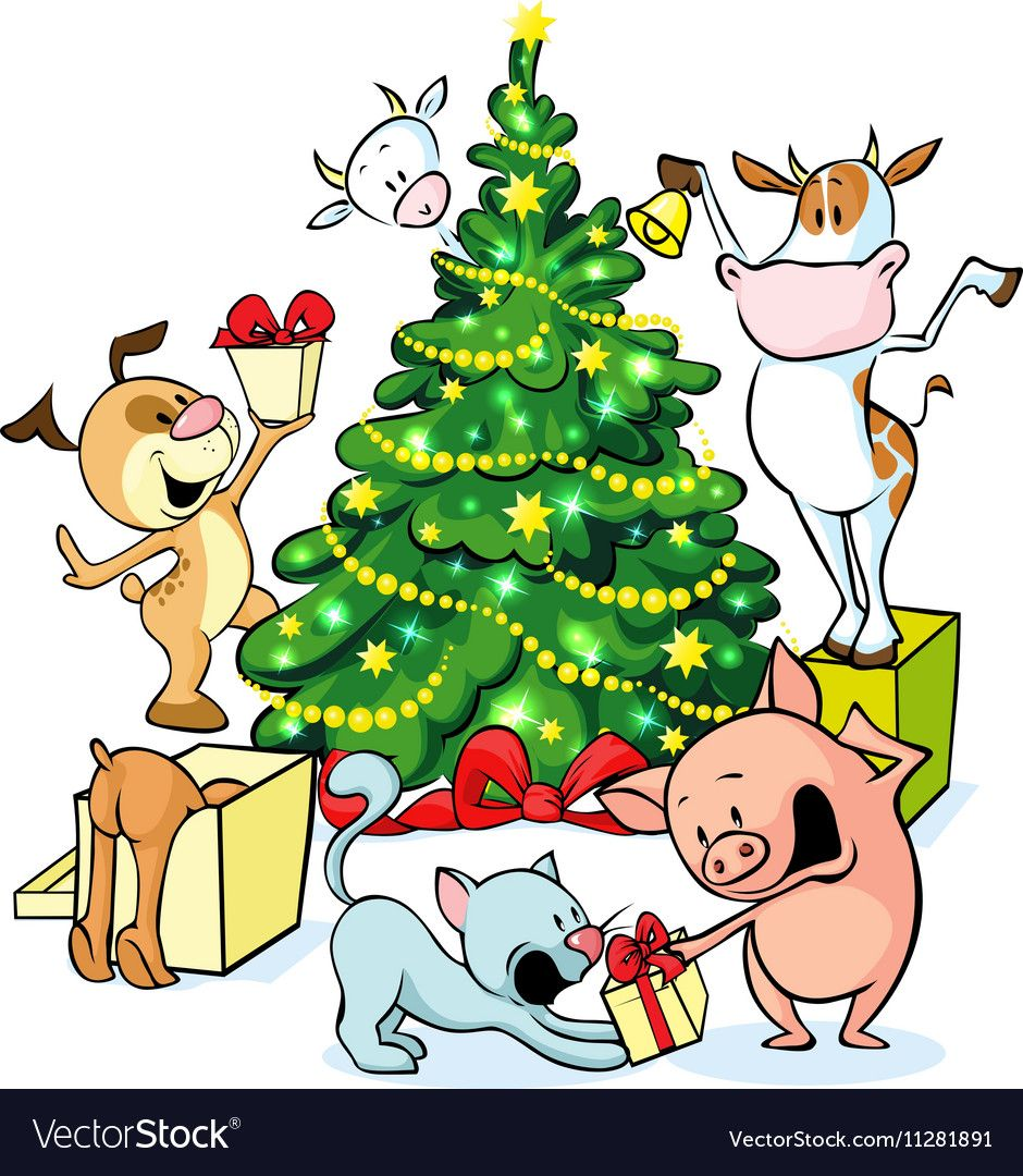 Farm animals celebrate Christmas under the tree vector