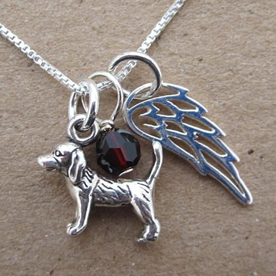 Beagle Angel Wing Mini Sterling Silver Necklace Beagle Memorial
