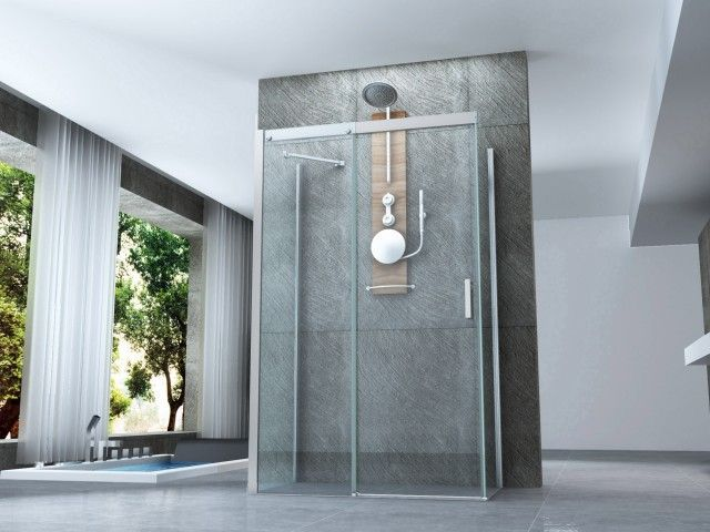 Box doccia 3 lati porta scorrevole cristallo trasparente 8