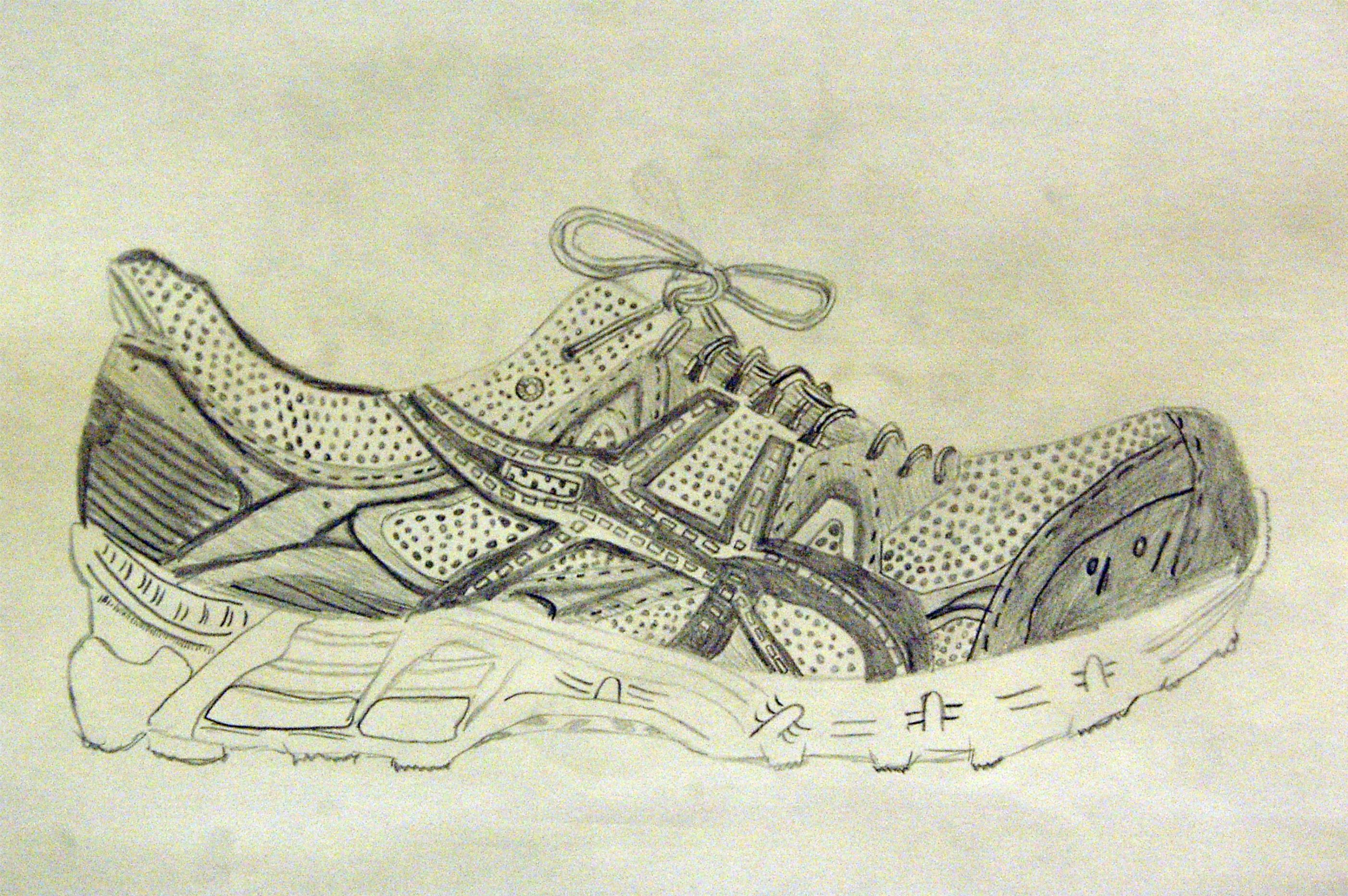 7th Grade Shoe Observation Drawing