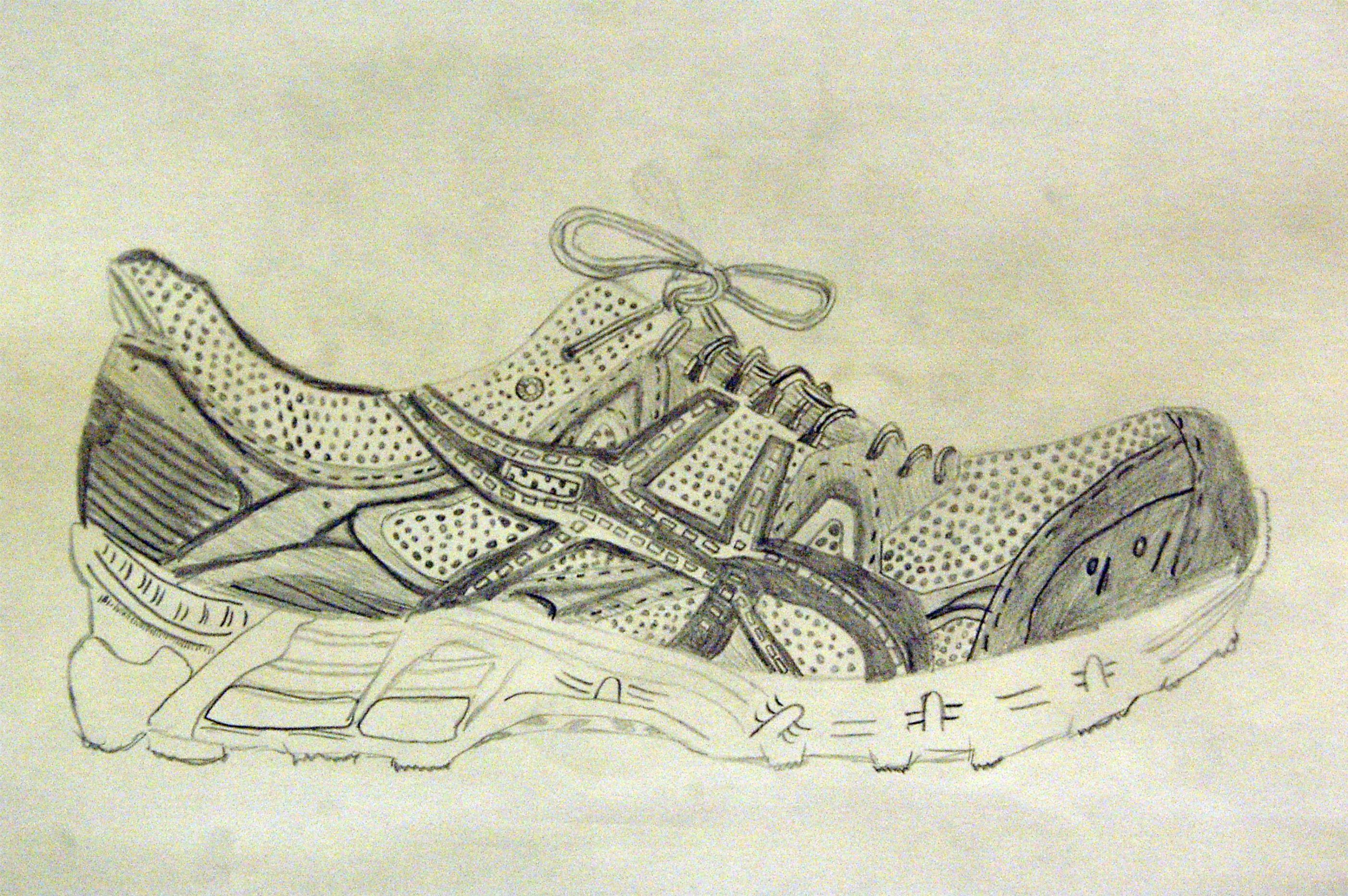 Contour Line Drawing Shoes Lesson Plan : 7th grade: shoe observation drawing art lesson ideas: shoes