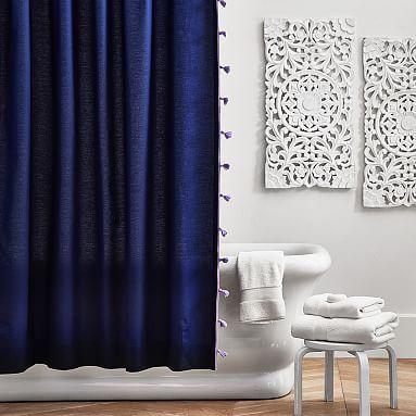Color On Color Tassel Shower Curtain Royal Navy Lavender