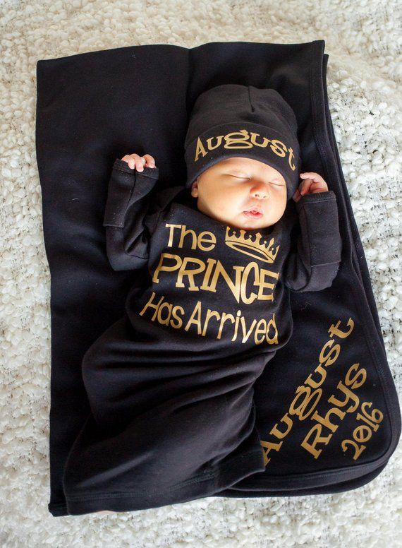 Photo of Prince Has Arrived Newborn boy black and gold bodysuit – take home outfit – Newborn gown – Baby Boy Gift – Hat and blanket Sold Separately