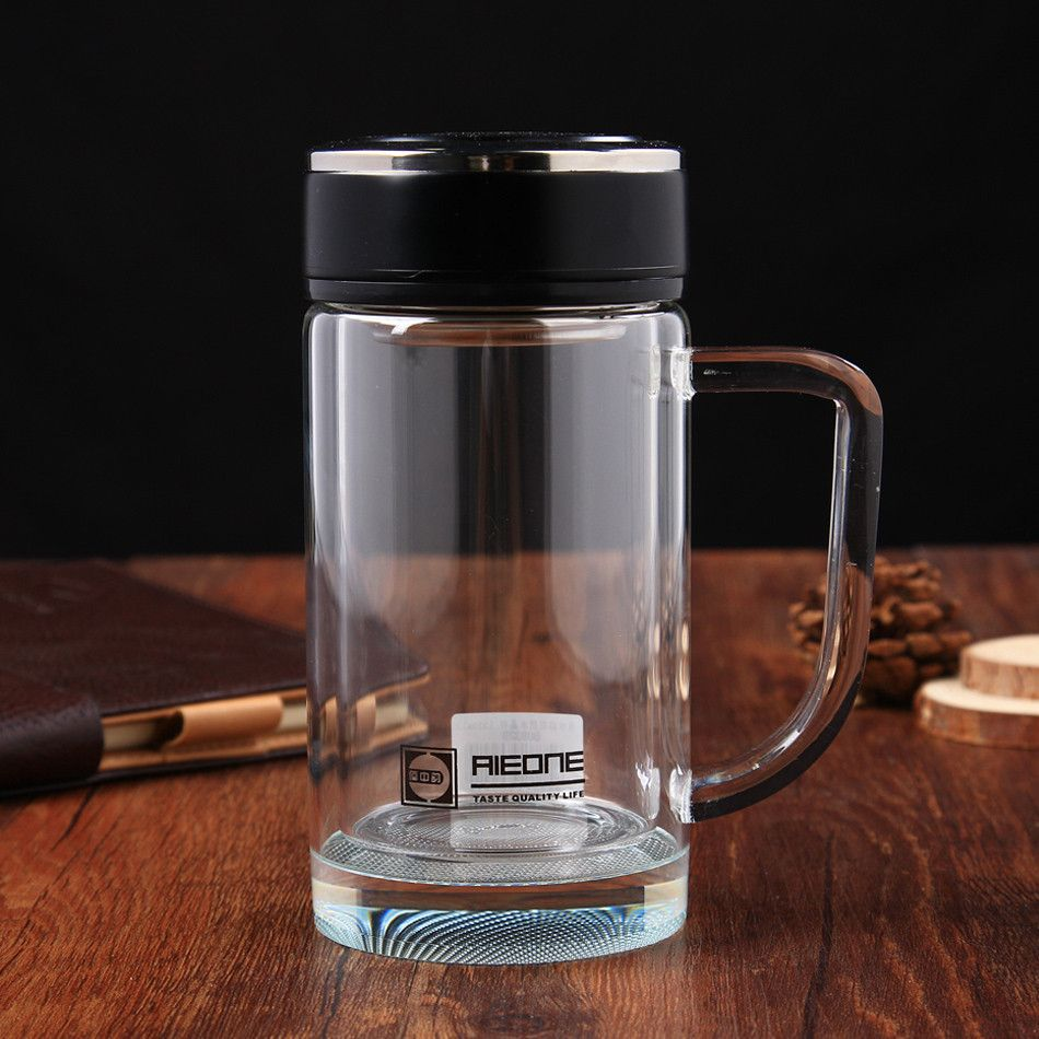 23de49ae43 320ml Double Layer Crystal Glass Borosilicate Glass Water Bottle Office  Boss Tea with Tea Infuser protable