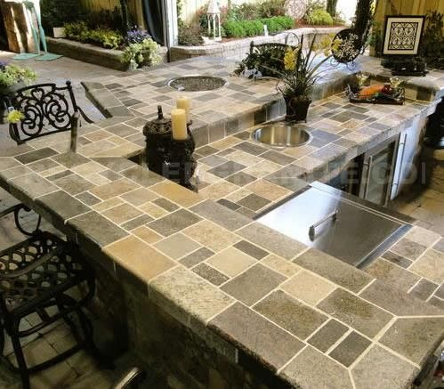 Pavers Used As Granite Countertop Outdoor Kitchen Countertops Outdoor Kitchen Countertops