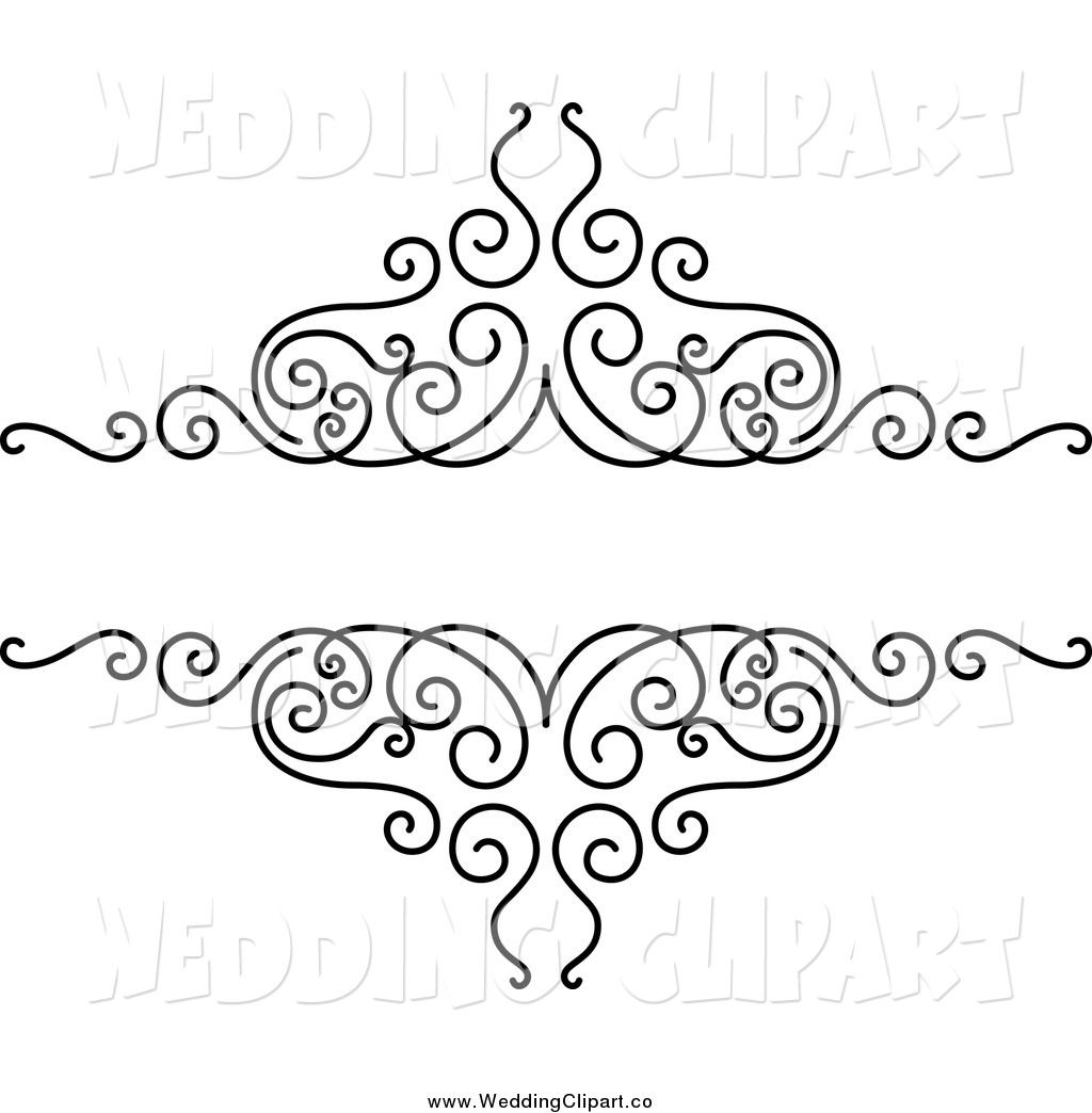 Vector Marriage Clipart Of A Black And White Swirl Wedding Design