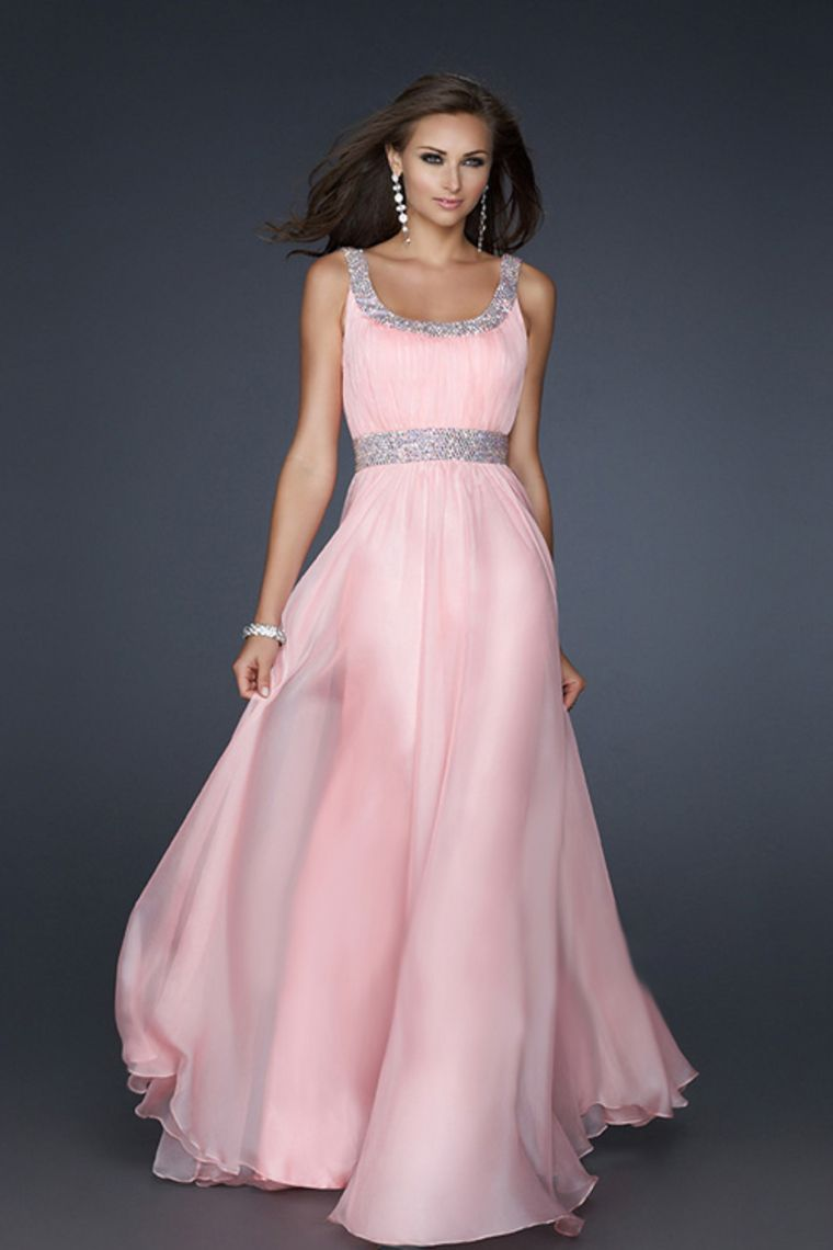 Hot Selling Prom Dresses A Line Scoop Floor Length Chiffon With ...