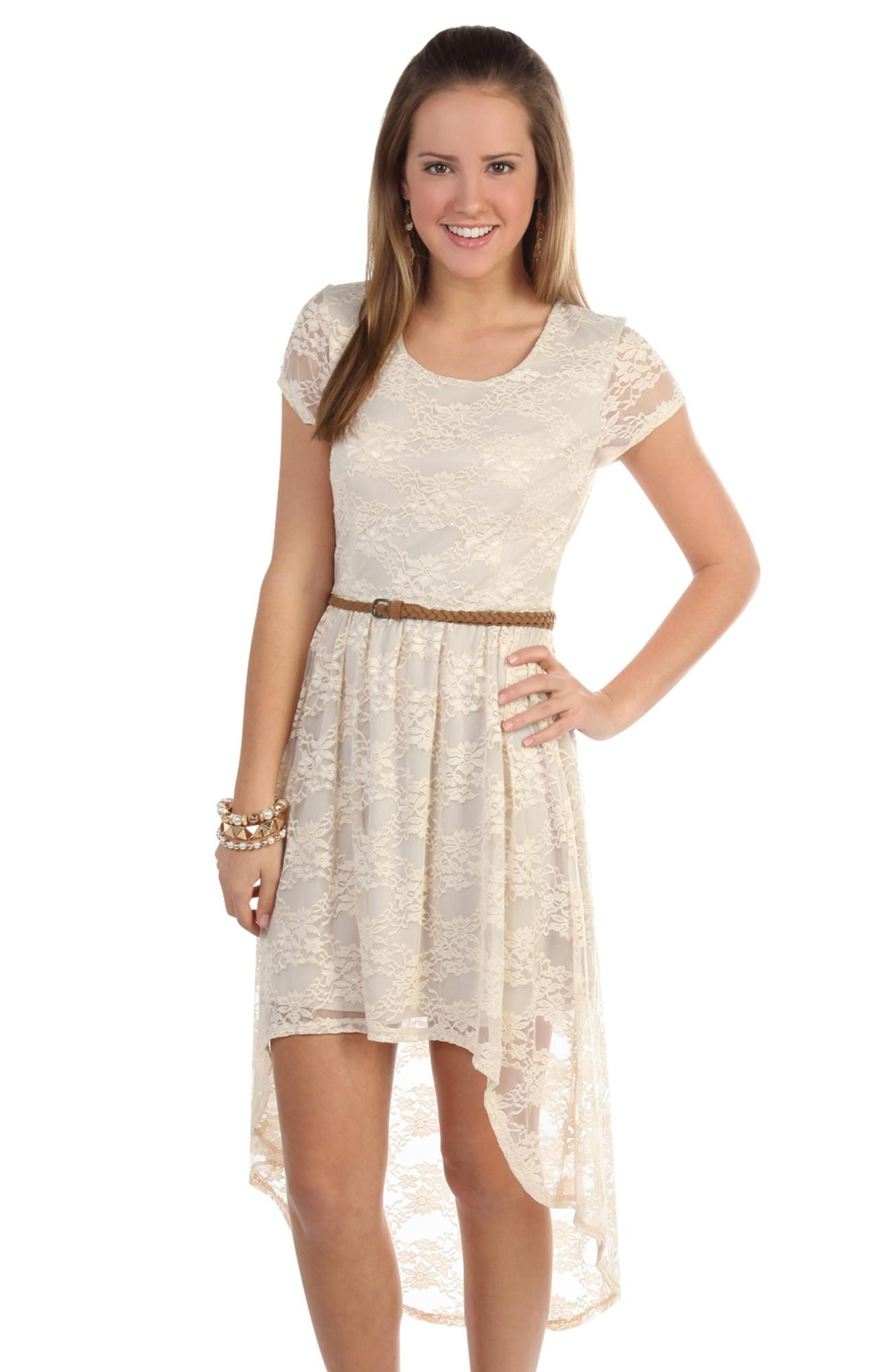 All over lace high low dress with short sleeves and belted waist