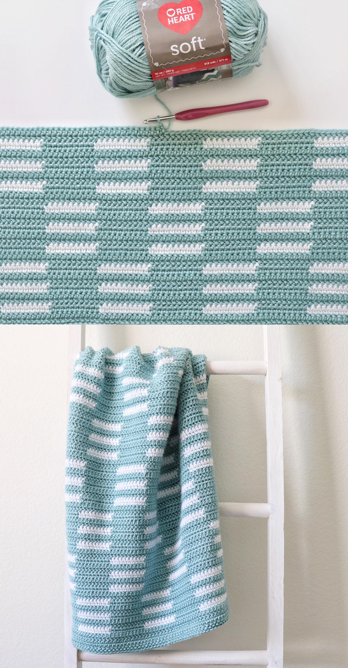 Free Pattern - Crochet Checkerboard Lines Blanket