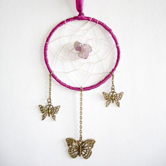 Purple Butterfly Amethyst Gemstone Dream-Catcher by TattooedRoZe