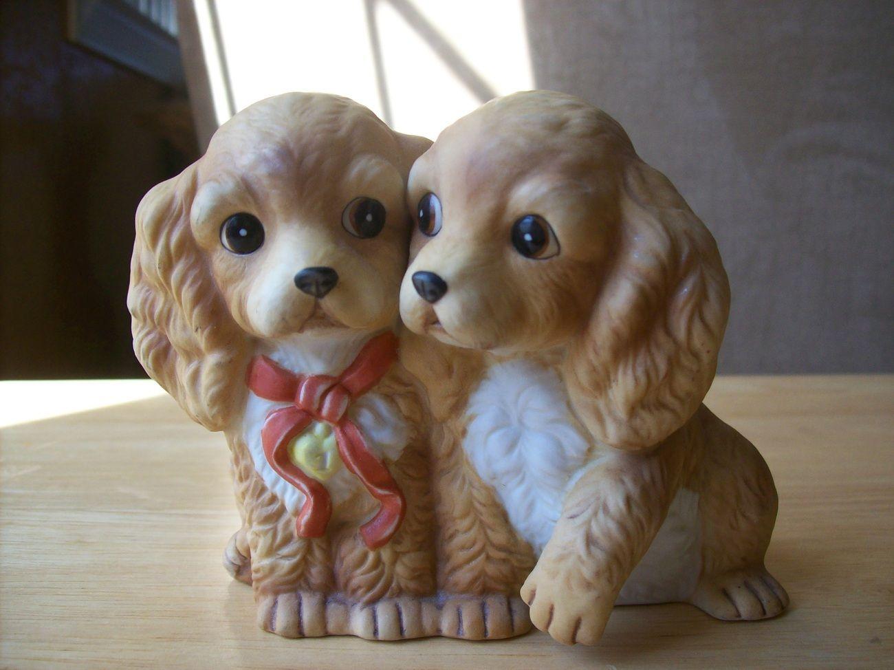 Home interior masterpiece figurines  homco masterpiece porcelain puppies figurine