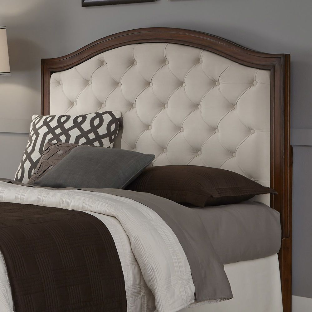 Upholstered headboard mahogany cherry wood camelback for Upholstered beds