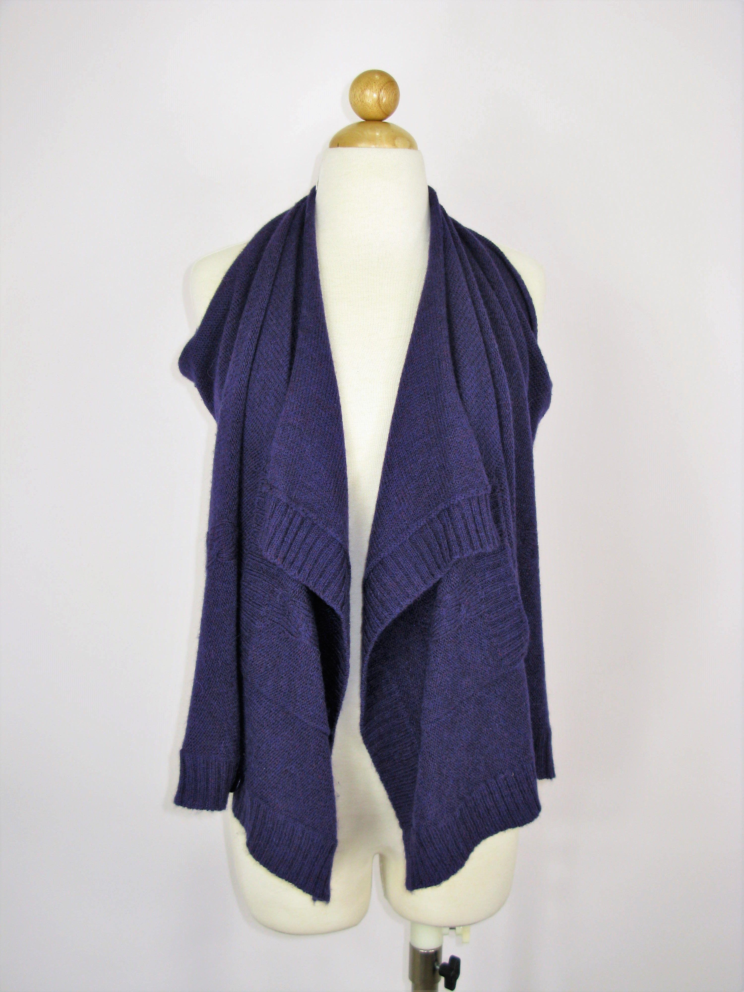 Mason Draped Sleeveless Open Cardigan Sweater Vest Top M ...