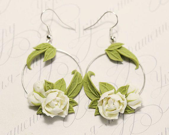 f493e0384 White peony Earrings. White flowers earrings. Flower Hoop earrings. Polymer  clay jewelry. Plant Earrings. Peony Jewelry. Bridesmaid jewelry