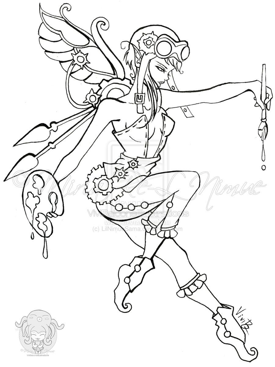Fairy Lineart Dollcelia By Lilnimuesama On Deviantart Fairy Coloring Pages Steampunk Coloring Fairy Drawings