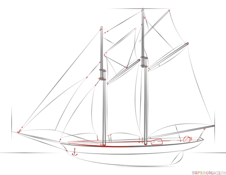 how to draw a sailing ship step by step drawing tutorials for kids and beginners