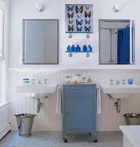 I like the industrial cabinet between the sinks for storage...