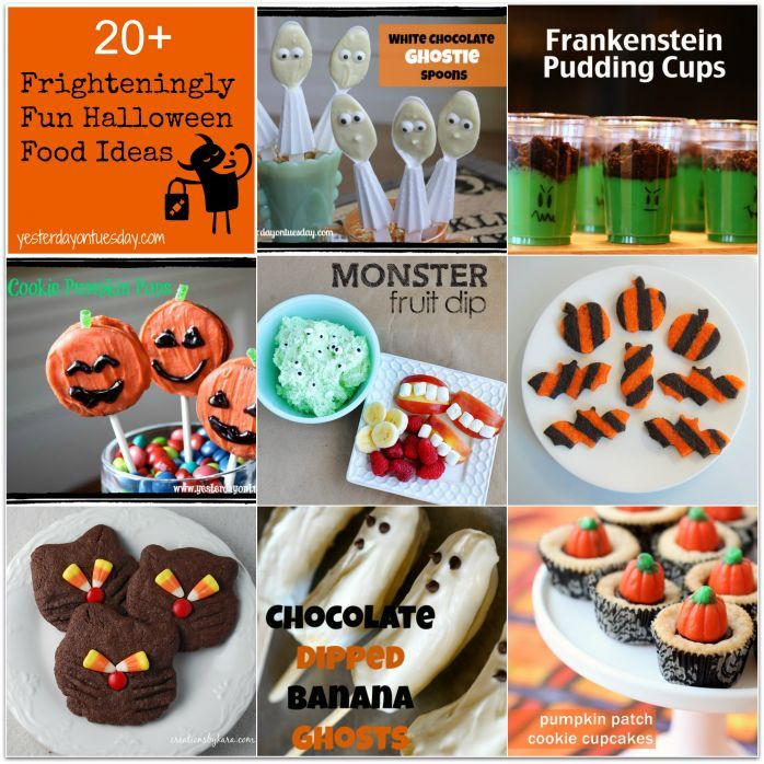 Halloween Food Ideas including fruit dip, pudding cups, cookie pops - halloween party ideas for kids food