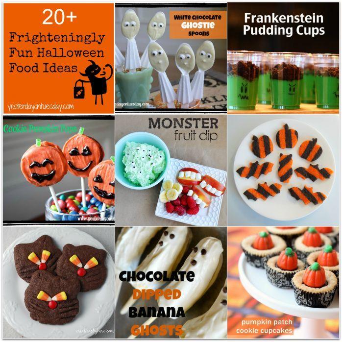 Halloween Food Ideas including fruit dip, pudding cups, cookie pops - fun halloween food ideas